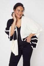 Roz & Ali Colorblock Open Front Sweater Poncho - Plus - 5