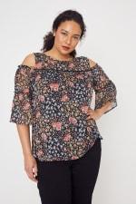 Westport Lace Trim Floral Cold Shoulder Blouse - Plus - Black Multi - Front