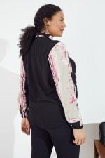 Roz & Ali Placement Print Blouse - Plus - Blush/Ivory/Black - Back