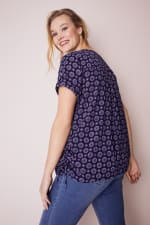 Roz & Ali Medallion Side Tie Popover Blouse - Plus - Navy - Back