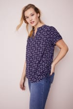 Roz & Ali Medallion Side Tie Popover Blouse - Plus - Navy - Front