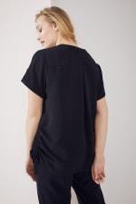 Roz & Ali Short Sleeve Side Tie Popover Blouse  - Plus - Black - Back