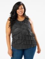 Mesh Dot Tier Knit Top - Black/White - Front