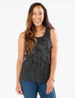 Mesh Dot Tier Knit Top - Black/White - Front