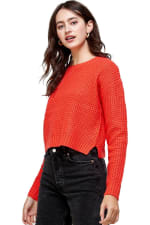 Kaii Waffle Knitted Cropped Sweater Top - 3