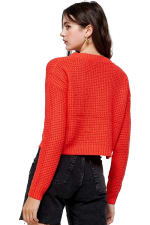 Kaii Waffle Knitted Cropped Sweater Top - 4