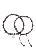 Dell Arte by Jean Claude Double Combo Shamballa Beads Bracelets With Stainless Steel Tag, Including Lapis  Lazuli, Black Onyx And Black Obsidian, Hematite Bead Beads - 2