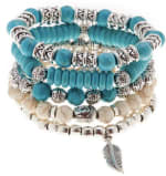 Jean Claude 5 Pieces Set Bracelets Boho Chic Natural Magnesite and Manmade Turquoise Stone Beads Bracelets - 1