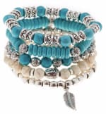 Jean Claude 5 Pieces Set Bracelets Boho Chic Natural Magnesite and Manmade Turquoise Stone Beads Bracelets - 2