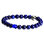 """Dell Arte by Jean Claude 8 mm Rare Lapis Beads Bracelet with 925 Sterling Silver """"Wisdom Charm' and Evil Eye Protection Bead - 2"""