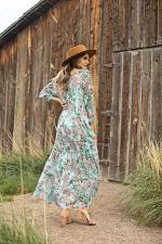 Paisley Veronica Maxi Peasant Dress - Misses - aqua - Back