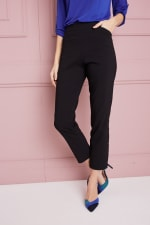 Petite  Super Stretch Tummy Control Pant with Cat Eye Pockets and Ankle Slits - Petite - 4