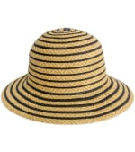 Jones NY Striped Two Tone Straw Bucket Hat - Black - Front