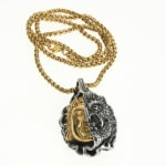 Dell Arte by Jean Claude Gold And Silver Buddha And Evil Eyes Devil Pendant, Stainless Steel, Size 46*28mm. Gold Plated Stainless Steel Chain 26 Cm [20 Inches] - 1