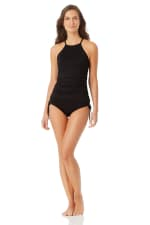 Anne Cole High Neck Tankini Top - Black - Front