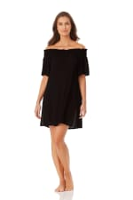 Anne Cole Smocked Off Shoulder Mini Dress - Black - Front