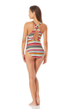 Anne Cole V Neck Cross Back One Piece Swimsuit - 2