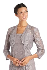 Two Piece Long Bolero Lace Jacket Dress - 5