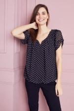 Roz & Ali Dot Bubble Hem Blouse - Black/White - Front
