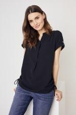 Roz & Ali  Short Sleeve Side Tie Popover Blouse - Misses - 3