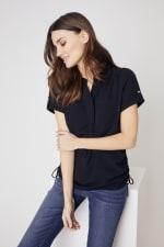 Roz & Ali  Short Sleeve Side Tie Popover Blouse - Misses - 6