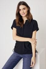 Roz & Ali  Short Sleeve Side Tie Popover Blouse - Misses - 4