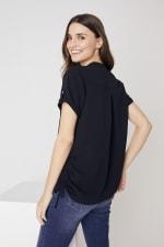 Roz & Ali  Short Sleeve Side Tie Popover Blouse - Misses - 5