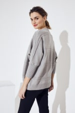 Westport Cocoon Cardigan Sweater - Heather Grey - Back