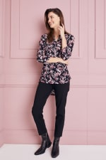 Floral Jacquard Pintuck Popover Tunic - 3