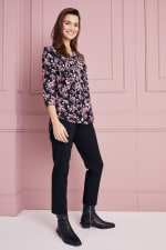 Floral Jacquard Pintuck Popover Tunic - 4