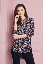 Floral Jacquard Pintuck Popover Tunic - 5
