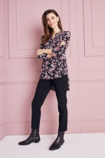 Floral Jacquard Pintuck Popover Tunic - 1
