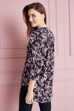 Floral Jacquard Pintuck Popover Tunic - 6