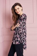 Roz & Ali Floral Jacquard Popover Tunic - Black Multi - Back