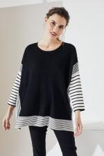 Roz & Ali Colorblock Stripe Poncho - 1