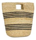 Straw Beach Bag Spring Jute Stripe Bucket - 2