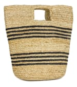 Straw Beach Bag Spring Jute Stripe Bucket - 1