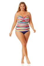 Anne Cole Convertible Shirred Hi Low Swimsuit Bottom - Plus - 7