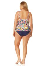Anne Cole Convertible Shirred Hi Low Swimsuit Bottom - Plus - Navy - Back