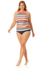 Anne Cole Convertible Shirred Hi Low Swimsuit Bottom - Plus - 3
