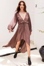 Linda V-Neck Dress - Mocca - Front