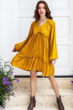 Texas Rose Boho Dress - Mustard - Front