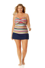 Anne Cole Rock Classic Swim Skirt - Plus - Navy - Front