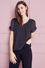 Roz & Ali Dot Bubble Hem Blouse-Petite - Black - Front