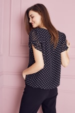 Roz & Ali Dot Bubble Hem Blouse-Petite - Black - Back