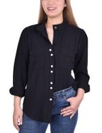 Long Sleeve Button Mandarin Collar Blouse - 1