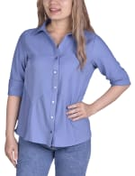 Long Sleeved Seamed Blouse With Wide Cuffs - Petite - 1