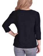 3/4 Sleeve Cutout Pullover - 2