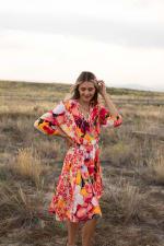 Luna Coral Floral Hanky Hem Dress - 3