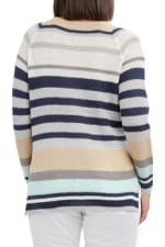 Caribbean Joe High Low Beach Sweater - Blue Stripe - Back